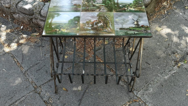 Помощна масичка от ковано желязо и плочки