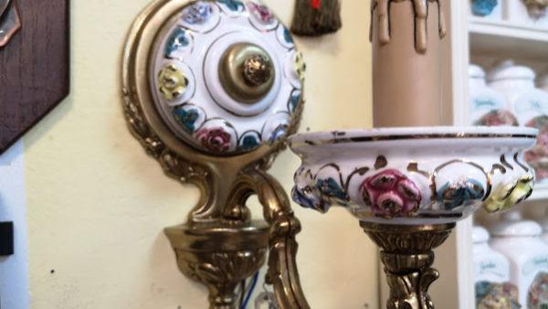 Нощна лампа за стена от порцелан и месинг